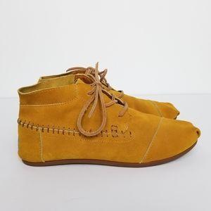 TOMS Golden-yellow Suede Moccasin Booties